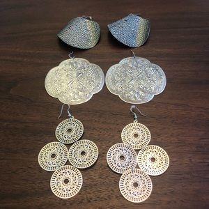 Silvertone Large BoHo earrings.